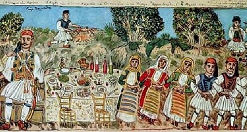 Λεπτομέρεια από το έργο του Θεόφιλου «Ο χορός των Μεγάρων»