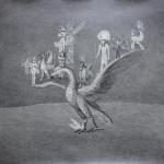 Διονύσης Καβαλλιεράτος, Αντιπελάργηση/ Καθήμενοι πάνω στον Φοίνικα η Λίλιθ, ο Γρύπας, το Πουλί του Κεραυνού Φτερωτός Ταύρος Ρα, ο Παζουζού και η Σφήγκα, 2015 (69 x 79 εκ., μολύβι σε χαρτί, ευγενική παραχώρηση της Bernier/Eliades Gallery)