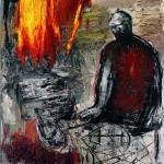 Eρατώ Χατζησάββα, Φωτιά και φόβος στην ευδαίμονα Σύρια, 2016 (85 x 75 x 10 εκ., πλέξιγκλας - μικτή τεχνική)