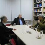 Ο Πρόεδρος του Ελληνικού Κοινοβουλίου, κ. Νικόλαος Βούτσης (μέσον), στην Εστία του Ελληνικού Ιδρύματος Πολιτισμού στο Βελιγράδι. Αριστερά, ο Πρέσβης της Ελλάδος στη Σερβία, κ. Ηλίας Ηλιάδης, δεξιά, ο Πολιτιστικός Σύμβουλος της Εστίας Βελιγραδίου, κ. Νίκος Τσιτσιμελής.