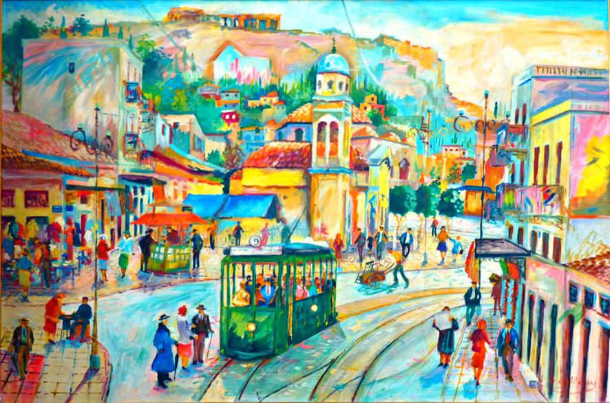 Σαββάκης Γιώργος, Αθήνα-Οδός Αθηνάς, λάδι σε καμβά, 80x120.