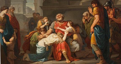 Bénigne Gagneraux, Ο Οιδίπους εμπιστεύεται τα παιδιά του στο Θεό, 1784.
