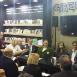 Στιγμιότυπο από τη συζήτηση για το πρόγραμμα μεταφράσεων στο ελληνικό περίπτερο.