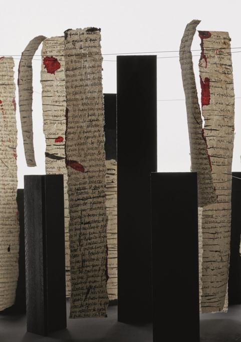 «Διάλογοι», εγκατάσταση, χάλυβας και σινική μελάνη σε χαρτί, μεταβλητές διαστάσεις, 2019.