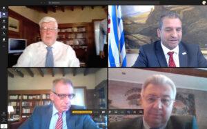 Προετοιμασία διαδικτυακών ομιλιών. Πάνω: Αλέξανδρος Μαλλιάς, Γιάννης Ρεμεδιάκης. Κάτω: Νίκος Α. Κούκης, Ιωάννης Χρυσουλάκης