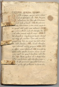 The first page of a 1475 edition of Plato's Gorgias.