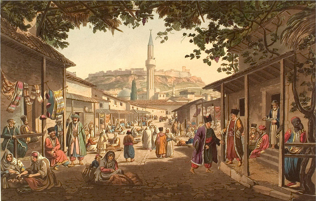 Bazaar at Athens by Edward Dodwell, Views in Greece. Public domain.