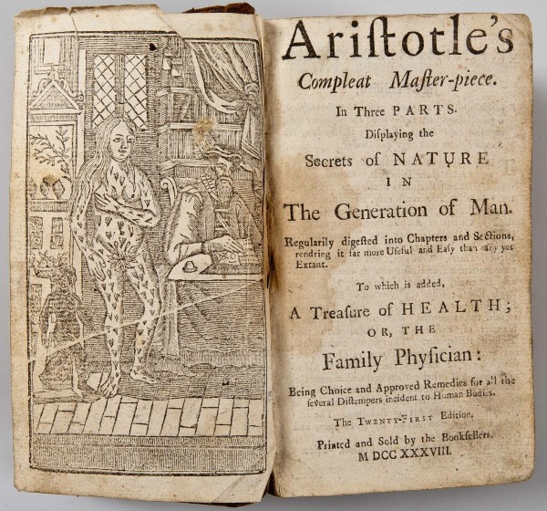 "A 1738 English edition of Aristotle's ""Compleat Master-piece."""