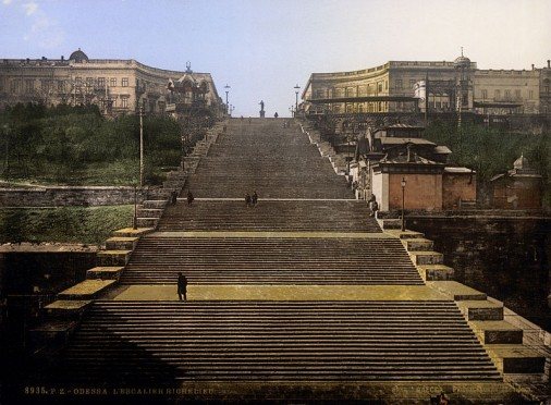 The Potemkin Stairs in Odessa, from a c. 1895 postcard now in the US Library of Congress. Public domain.