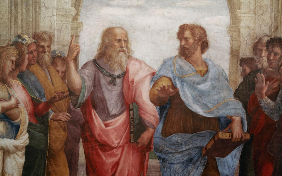 Plato and Aristotle, detail from School at Athens, by Raphael. Public domain.