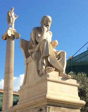 Statue of Socrates in front of the Academy of Athens, 19th century. HFC.