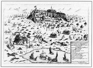 Engraving showing the venetian siege of the Acropolis in 1687.