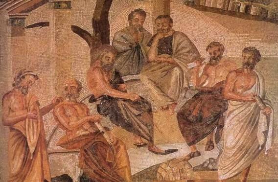 Mosaic showing Plato's Academy. Public domain.