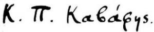 Cavafy's signature.