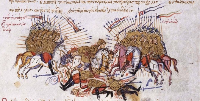 Battle between Byzantines and Arabs, from The Chronicle of John Skylitzes, 13th century manuscript in the Madrid National Library. Public domain.