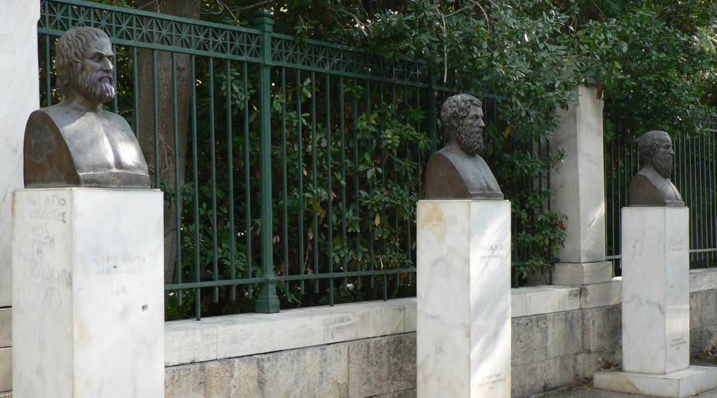 Busts of Euripides, Aeschylus and Sophocles, outside the National Gardens, Athens. HFC.
