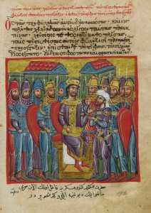 Miniature of the Alexander Romance, a fourteenth century manuscript. Courtesy of Hellenic Institute of Byzantine and Post-Byzantine Studies in Venice.