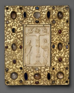 Book cover with Byzantine Icon of the Crucifixion. Spain (setting) and Constantinople (icon), dated to before 1085. Courtesy www.metmuseum.org.