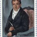 """Postage stamp featuring Adamantios Korais, the """"father"""" of Katharevousa. Public domain."""