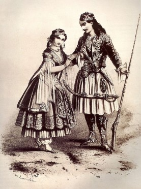 Gravure showing traditional Greek costumes. Public domain.
