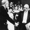 Seferis receiving the Nobel Prize in 1963.