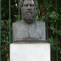 Bust of Sophocles outside the National Gardens in Athens. HFC.
