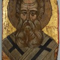 Saint Gregory the Theologian, Icon, Greek, c. 1500. In a private collection, Sydney, Australia. Public domain.