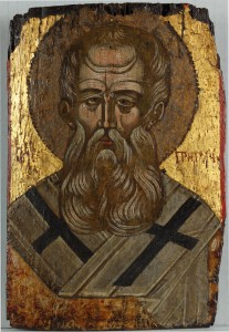 Saint Gregory the Theologian, Icon, Greek, c. 1500. In a private collection, Sydney, Australia.