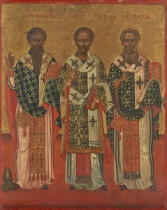 Saints Basil, John Chrysostom and Gregory, Icon, Greek, c. 1700s. National Gallery of Victoria.