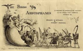Poster for The Birds, by Aristophanes, for a performance at Cambridge University. Public domain.
