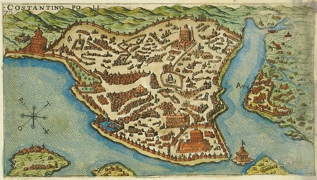 Map of the island of Constantinople, created in 1597 by the Venetian Giacomo Franco (1550-1620) for his book Viaggio da Venetia a Constantinopoli per Mare. Public domain.