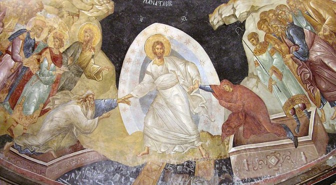 The Anastasis fresco in the Chora Church, public domain.