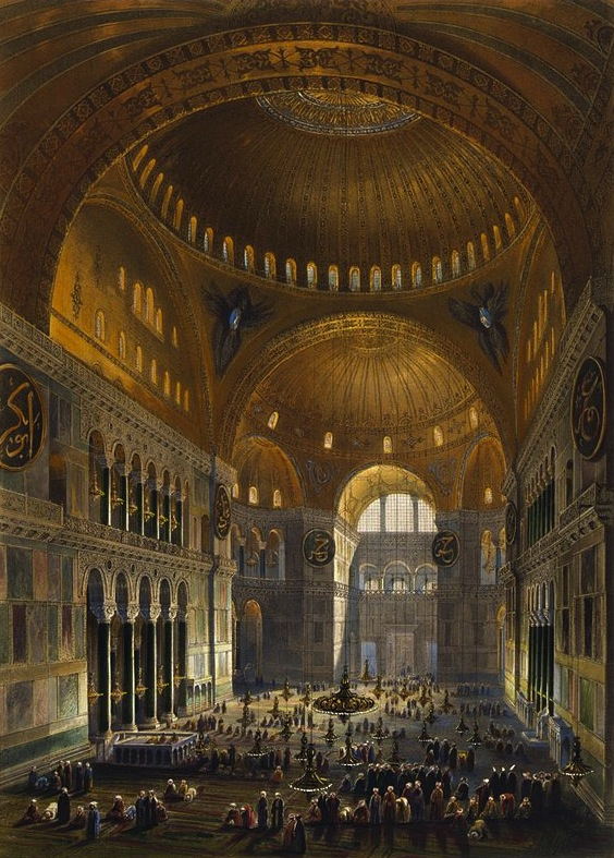 Interior of Hagia Sophia as rendered by Gaspari Fossati in 1852. Lithograph by Louis Haghe, public domain.