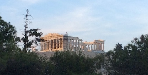 The Parthenon, seen from Philopappou Hill. HFC.