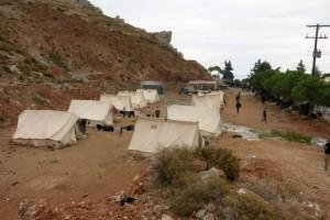 Refugee encampment at the Myrsinidi Monastery, Chios. Photo courtesy of Stephen Katradis
